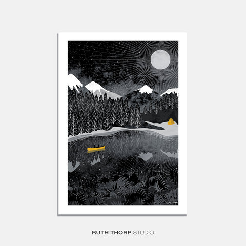 Night paddle print Ruth Thorp A4