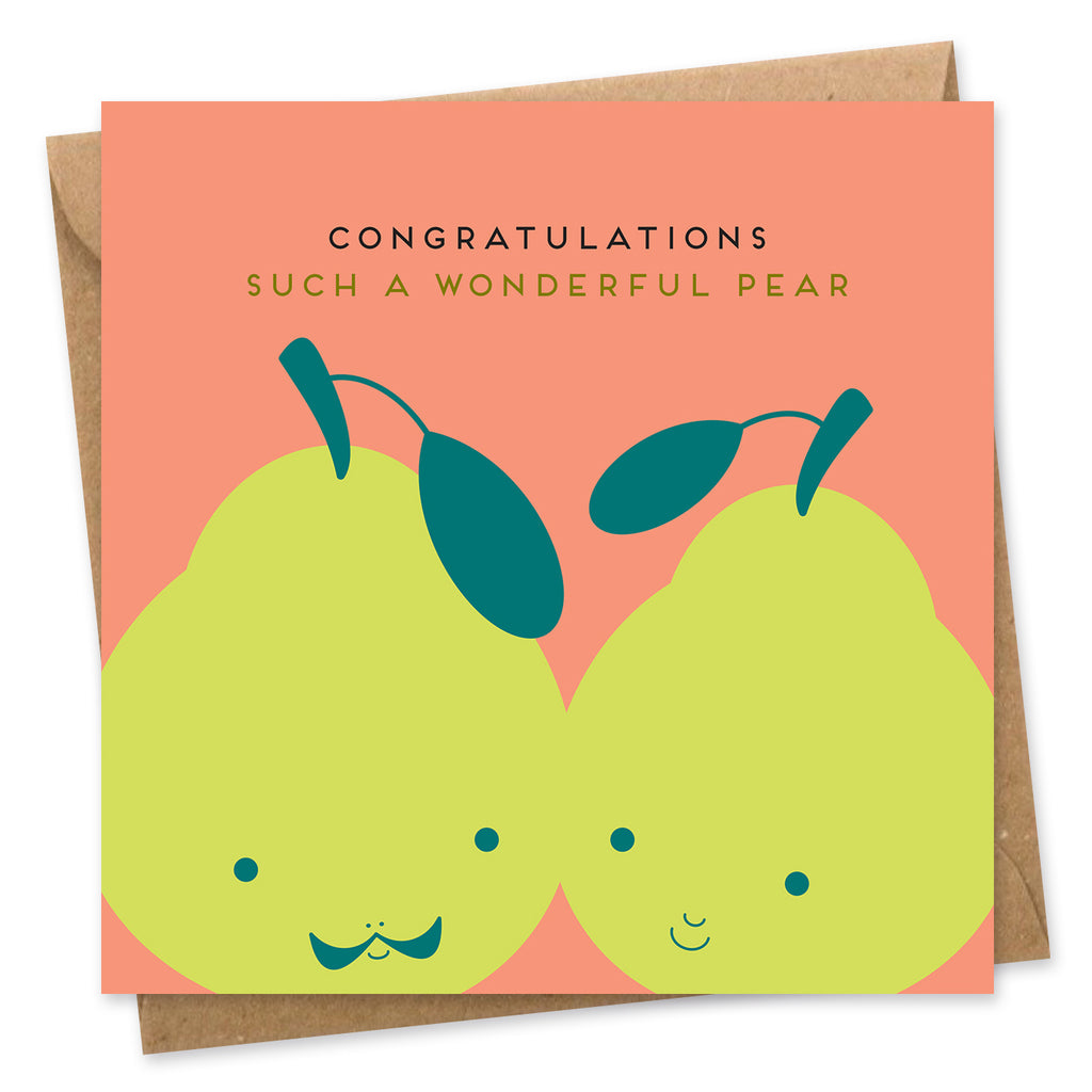 wonderful pear congratulations card wedding anniversary engagement