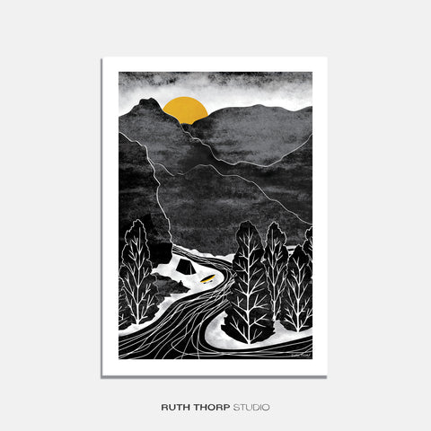 River adventure print Ruth Thorp A4