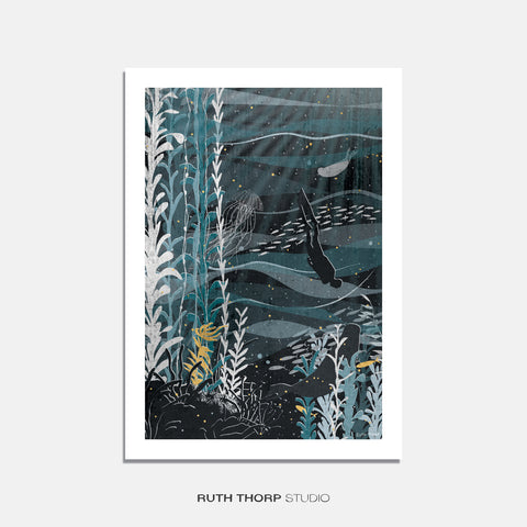 Into the deep print Ruth Thorp A4