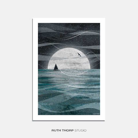 Sail on the moon print Ruth Thorp A4