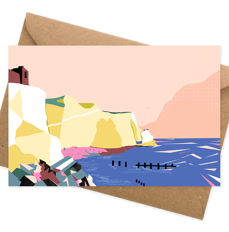 Dreamy landscape IV card by Seaford based illustrator Onneke Northcote-Green. Splash point, Seaford Head cliffs, Seaford, East Sussex