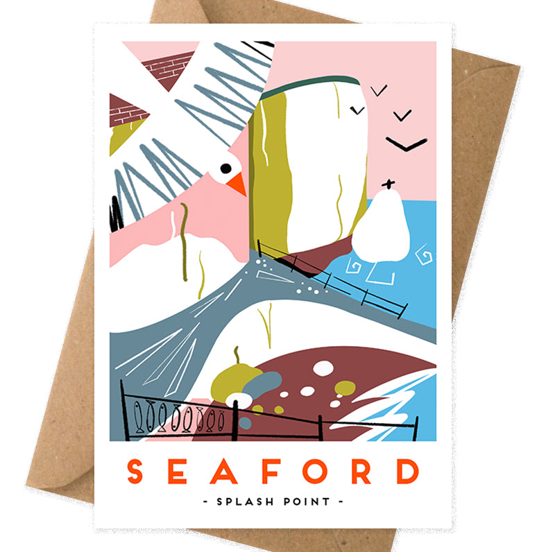 Seaford splash point card modern railway poster greeting card by Onneke