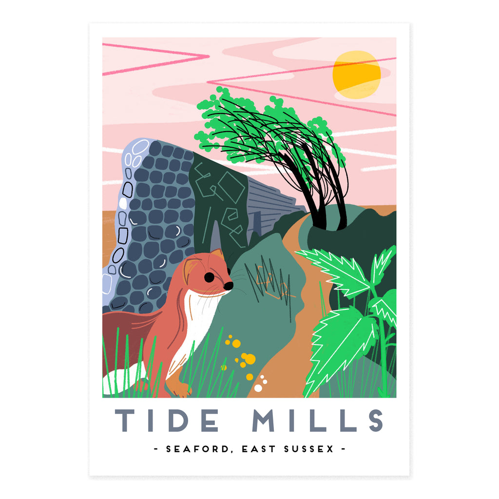 Tide mills illustration by Seaford based illustrator Onneke. East sussex.