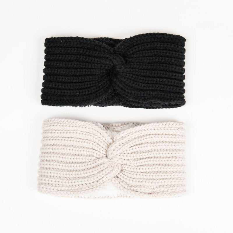 Chunky knitted headband with teddy faux fur lining