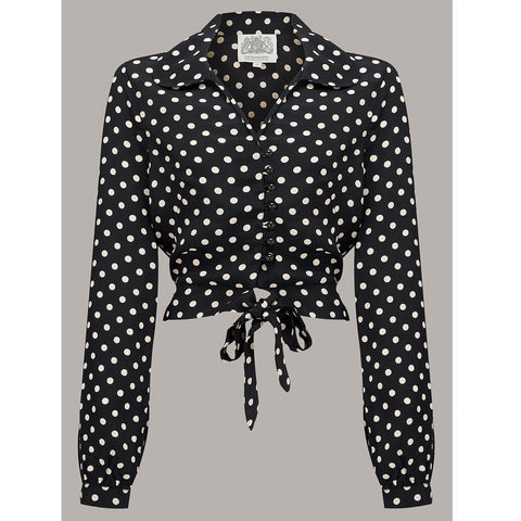 Seamstress of Bloomsbury - Clarice Blouse (Black and White Spot)
