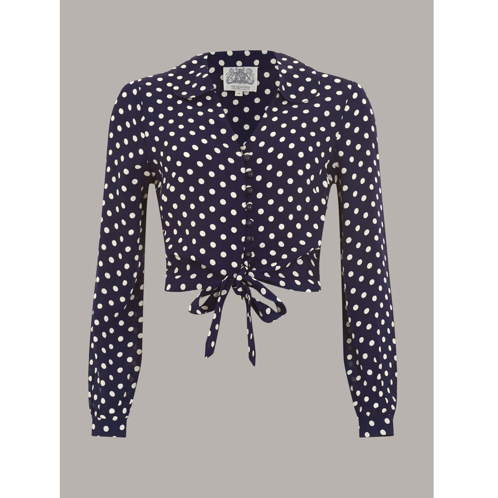 Seamstress of Bloomsbury - Clarice Blouse (Navy and White Spot)