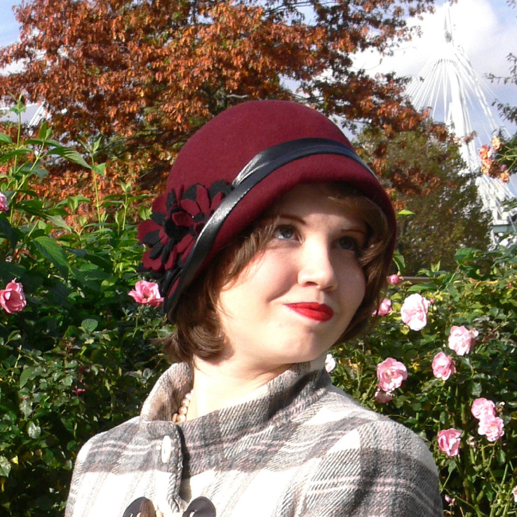 Handmade cloche hat burgundy