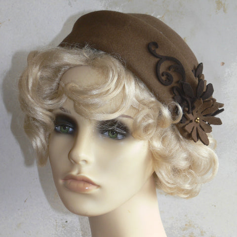 Felt Folded Hat - Brown