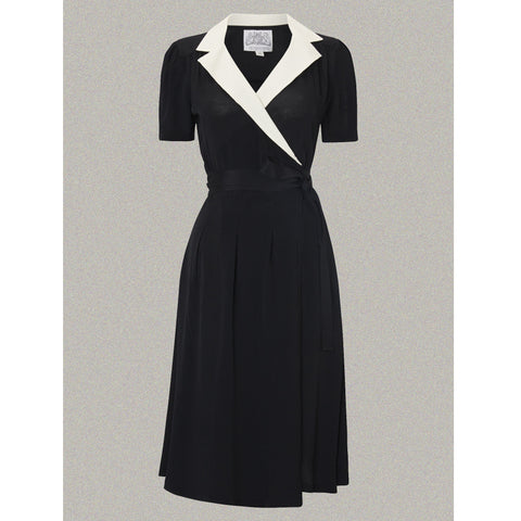 Seamstress of Bloomsbury - Peggy Dress (Black/Ivory Collar)