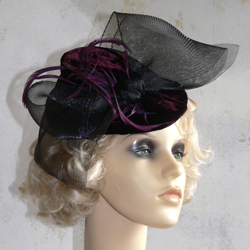 Pixie Hat - Burgundy with bow