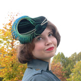 Pixie Hat - Green with peacock spears