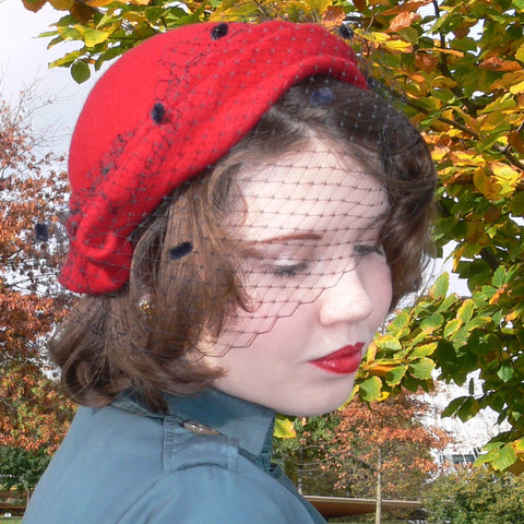 Felt Folded Hat - Red with veil