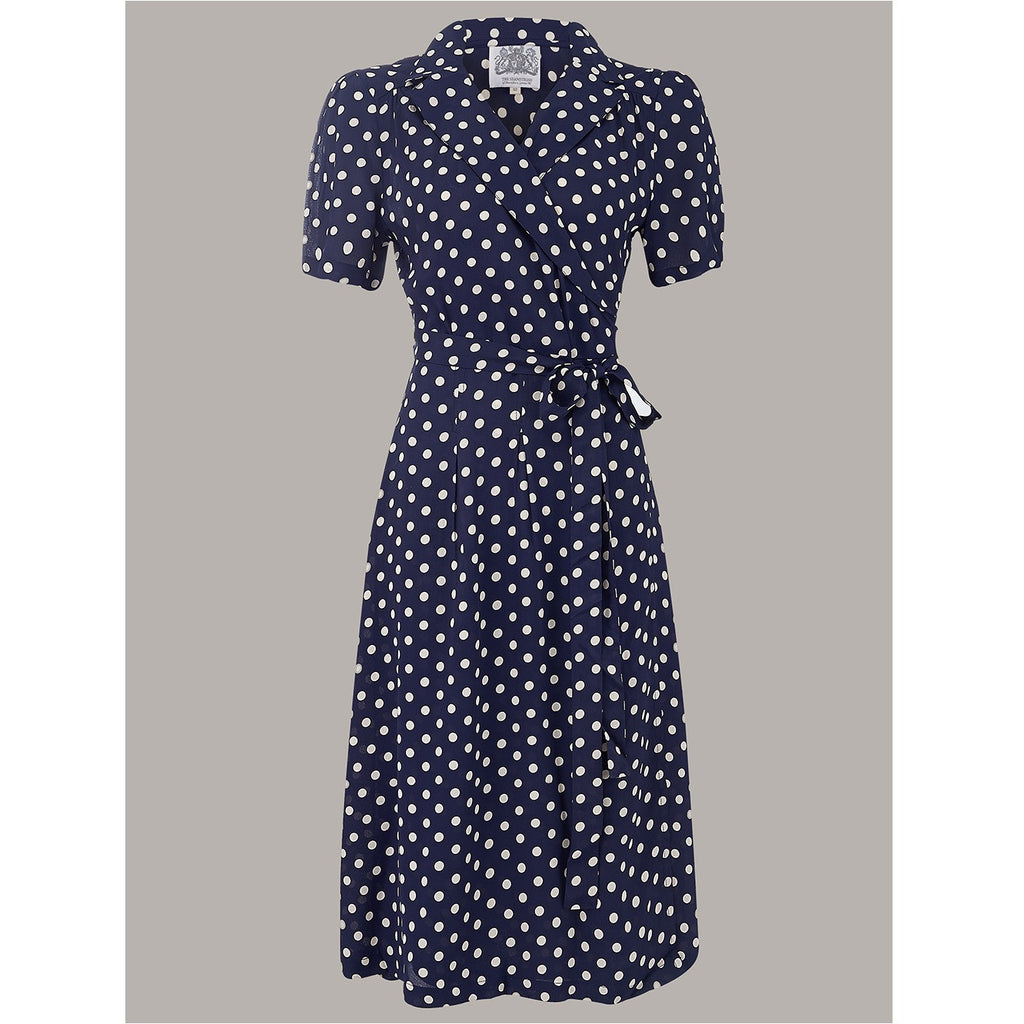 Seamstress of Bloomsbury - Peggy Dress (Navy blue and white spot)