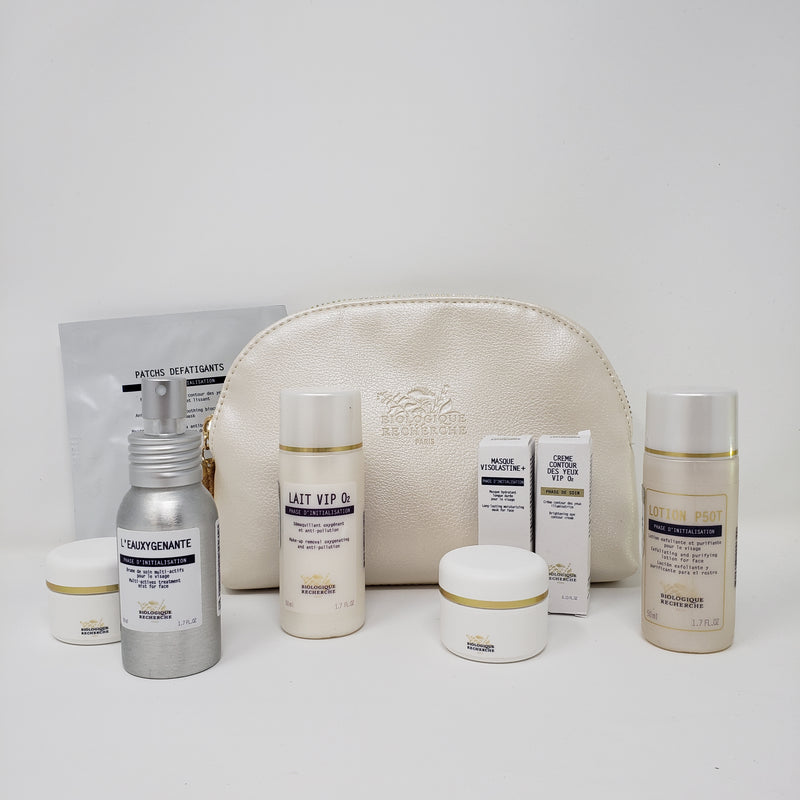 Signature Biolgoique Recherche Travel Kit with Lait Vip O2, Lotion P50T, L'Eauxygenante, Masque Visolastine+ sample, Creme Contour des Yeux VIP O2 sample, 2 empty BR jars for creams