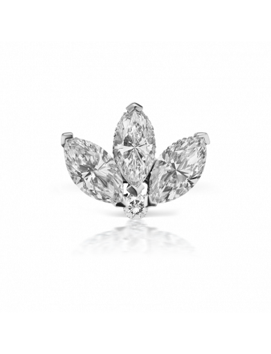 3mm ENGRAVED DIAMOND LOTUS EARSTUD in White Gold