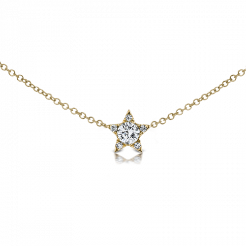 4.3mm DIAMOND STAR NEKCLACE in Yellow Gold