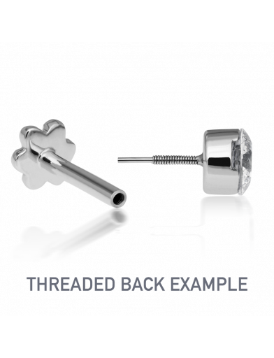 11mm DIAMOND LIGHTNING BOLT THREADED STUD in White Gold