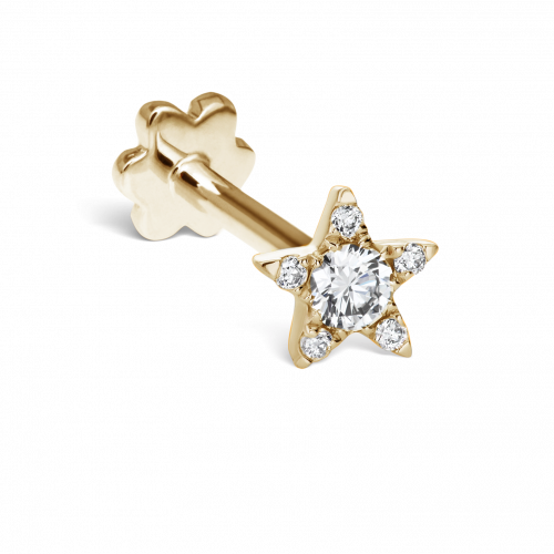 4.5mm DIAMOND STAR THREADED STUD in Yellow Gold
