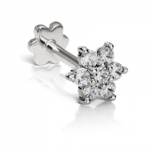 5.5mm CUBIC ZIRCONIA FLOWER THREADED STUD in White Gold