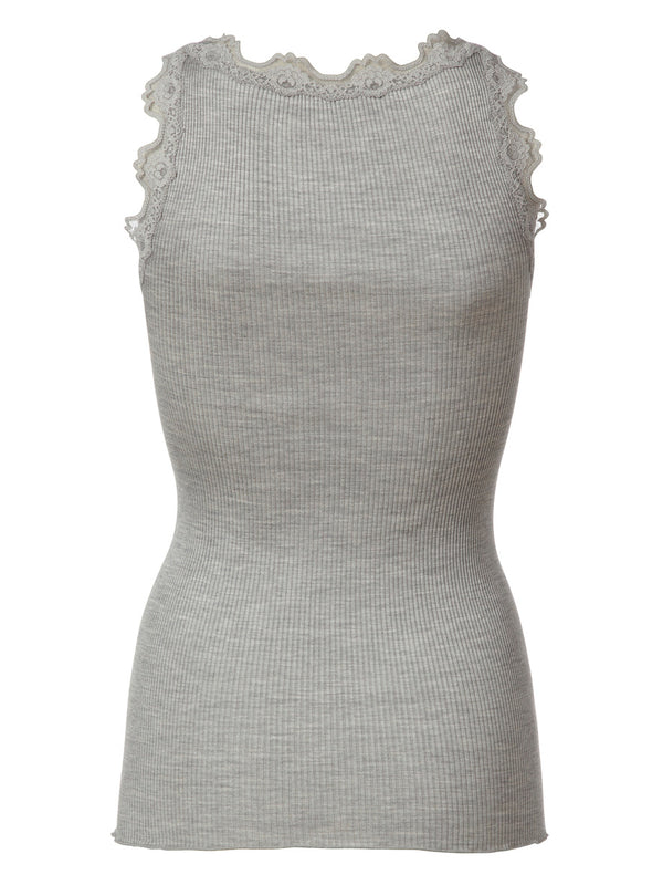 BABETTE CLASSIC SILK TOP WITH LACE - LIGHT GREY