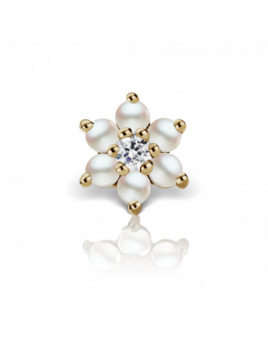 7mm PEARL AND DIAMOND FLOWER TASH TRADITIONAL STUD in Yellow Gold