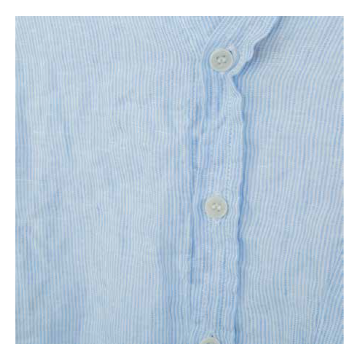 SLOANE LINEN SHIRT in LIGHT BLUE/WHITE PINSTRIPES