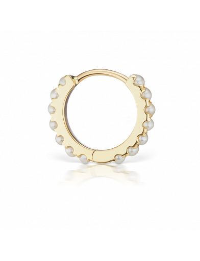 8mm PEARL ETERNITY CLICKER in Yellow Gold