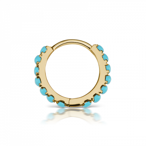 8mm TURQUOISE ETERNITY CLICKER in Yellow Gold