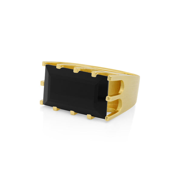 CASTLE RING GOLD WITH BLACK ONYX SIZE 8