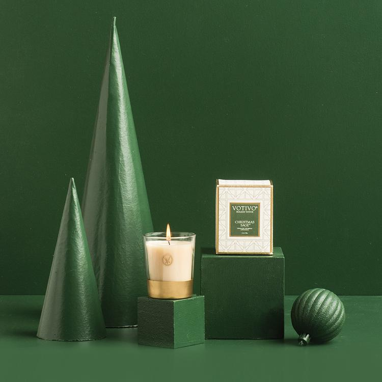 CHRISTMAS SAGE HOLIDAY CANDLE and VOTIVE