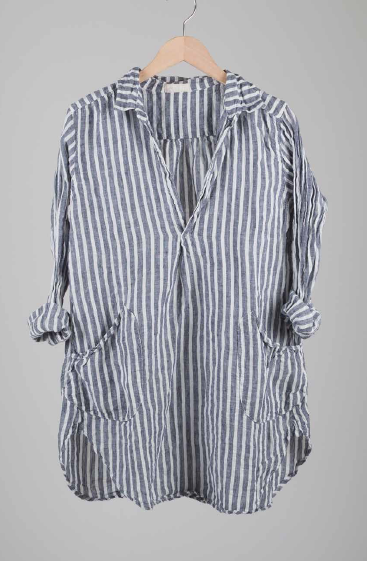 TETON LINEN TUNIC in STRIPED DENIM