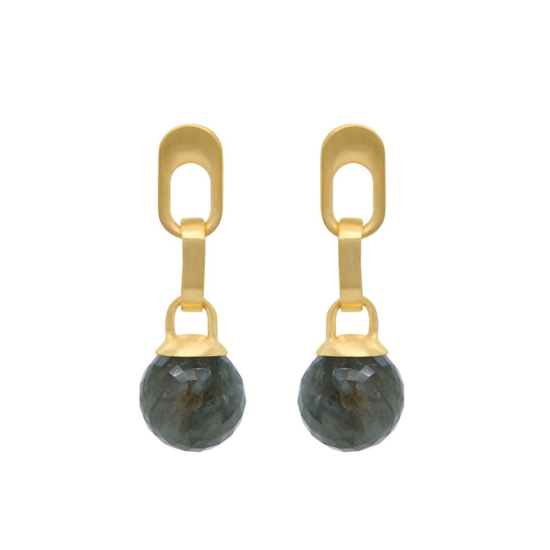 MANHATTAN GEM DROP EARRINGS GOLD WITH LABRADORITE