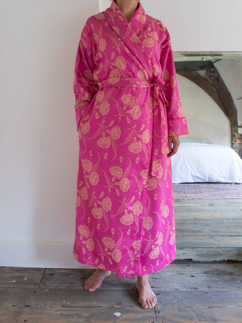 ELEGANT DRESSING GOWN DARK PINK WITH GOLDEN YELLOW