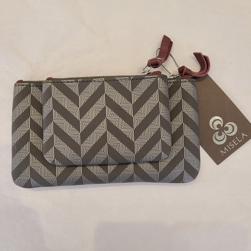 EVA WALLET GREY & SILVER with PLUM DETAILS