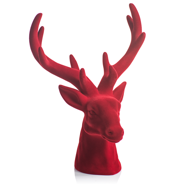 FLOCKED STAG HEAD - RED