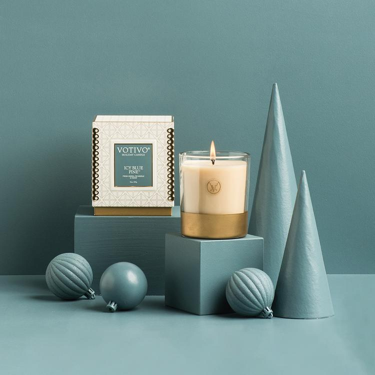 ICY BLUE PINE HOLIDAY CANDLE and VOTIVE