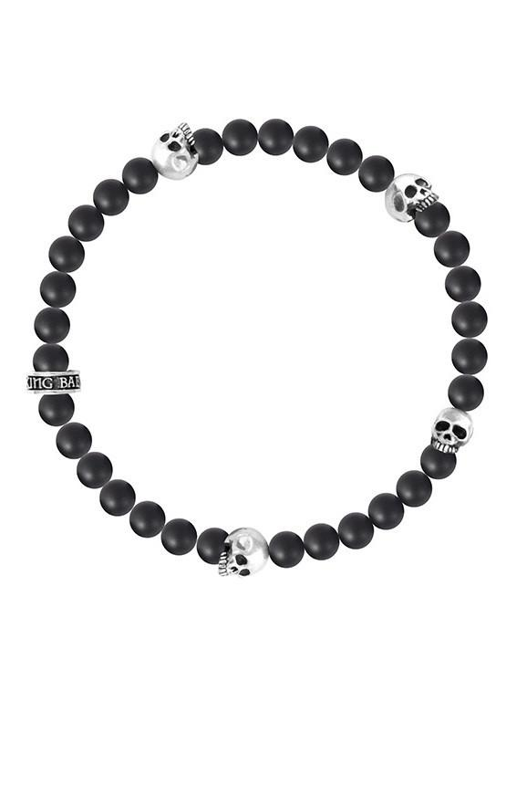 6MM ONYX BEAD BRACELET WITH 4 SKULLS