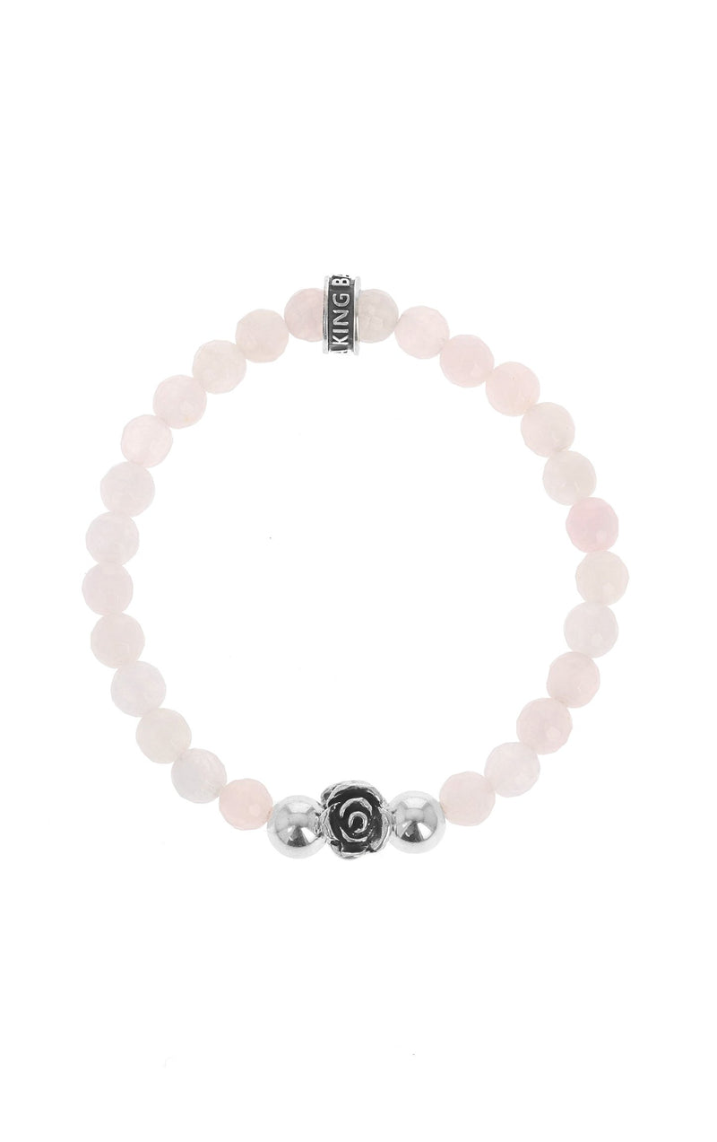 ROSE QUARTZ BRACELET WITH SILVER ROSE BEAD