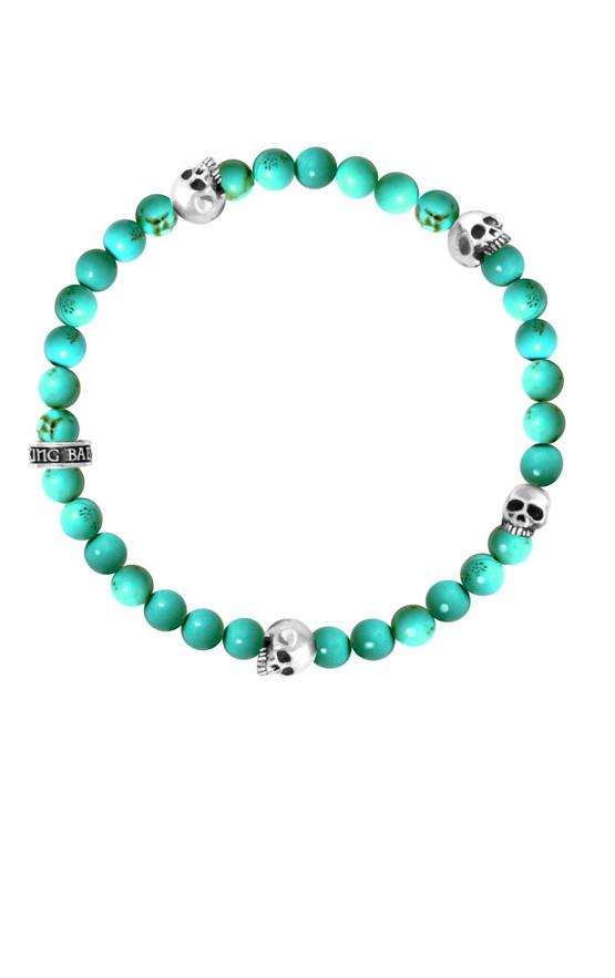 6MM TURQUOISE BEAD BRACELET WITH 4 SKULLS
