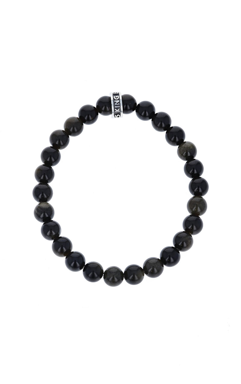 BLACK OBSIDIAN BRACELET WITH LOGO RING