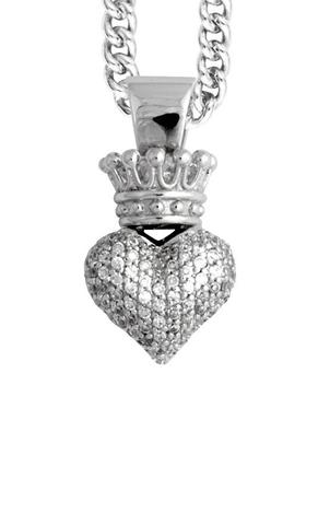 SMALL 3D PAVE CZ CROWNDE HEART PENDANT