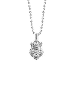 SMALL CROWNED HEART PENDANT WITH CZ PAVE