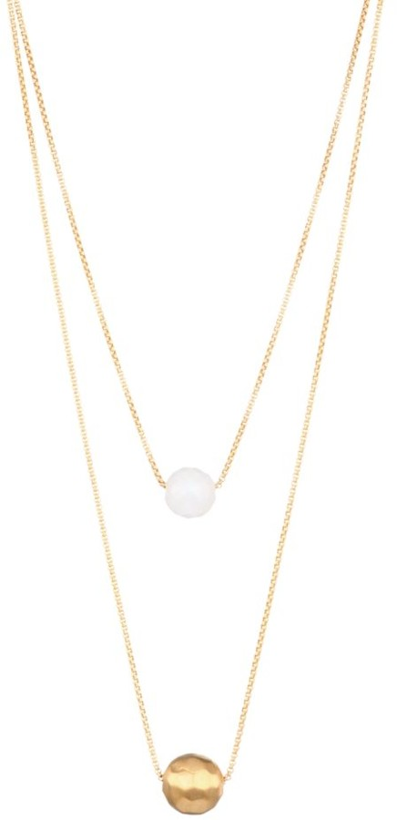 MANHATTAN LAYERED NECKLACE GOLD WITH MOONSTONE