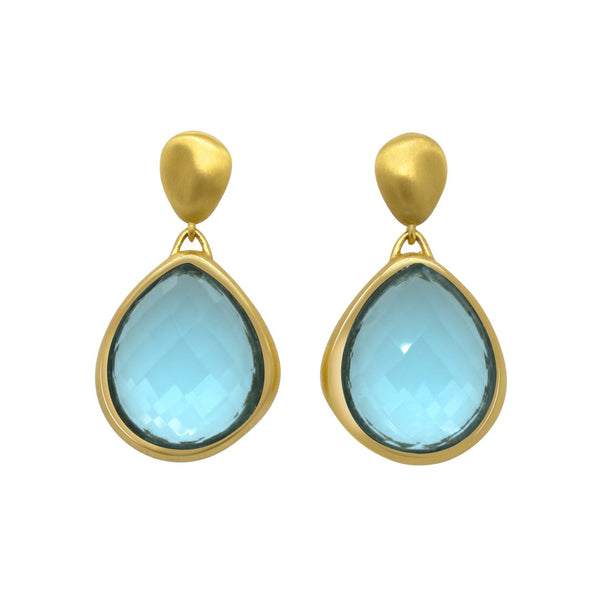 MAR EARRINGS GOLD WITH BLUE TOPAZ