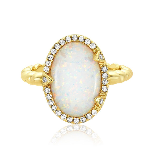 MAYA RING GOLD + WHITE MOONSTONE size 7