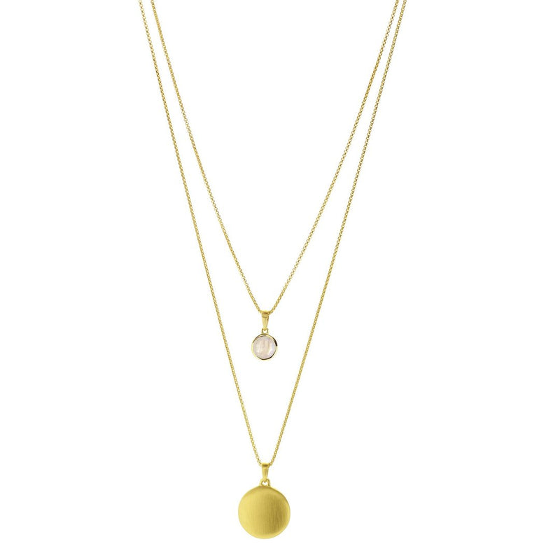 SIGNATURE LAYERED NECKLACE GOLD MOONSTONE