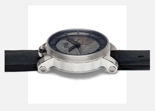 R360 SILVER WRIST WATCH with Black Suede Strap