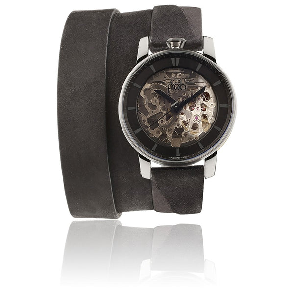 R360 SILVER WRIST WATCH with Triple Black Suede Strap