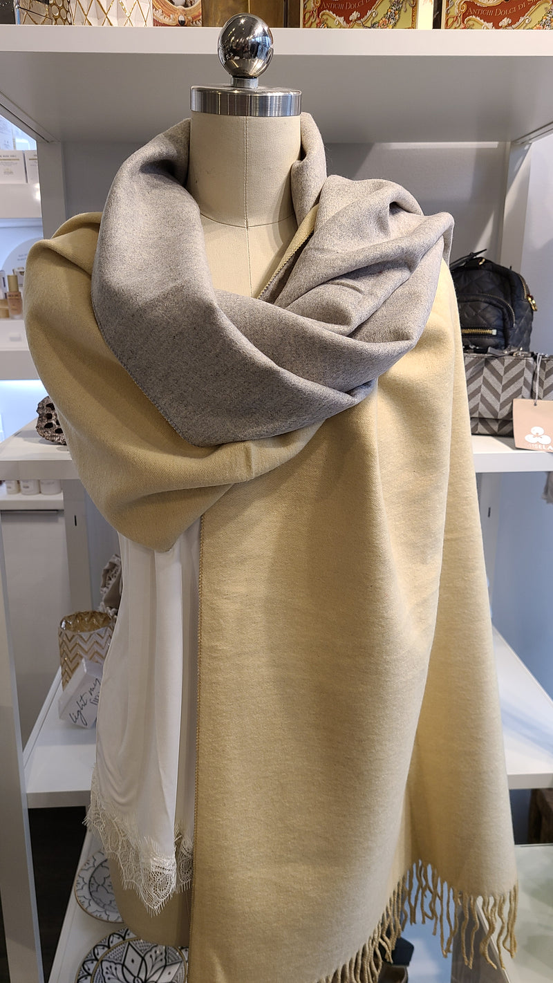 REVERSIBLE CASHMERE SCARF - BEIGE & GREY